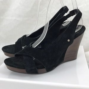 UGG Black Suede Open Toe Sandal Wedge Sz 7